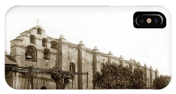San Gabriel Mission iPhone Case - The Campanario, Or Bell Tower Of San Gabriel Mission Circa 1890 by California Views Archives Mr Pat Hathaway Archives