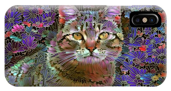 The Cat Who Loved Flowers 2 IPhone Case