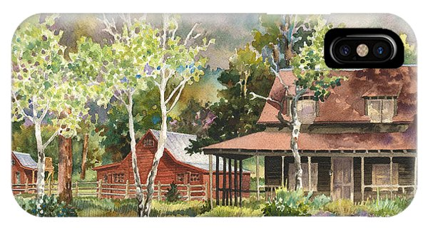 Barn iPhone Case - The Delonde Homestead At Caribou Ranch by Anne Gifford