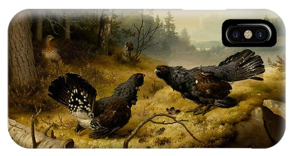 Swedish Painters iPhone Case - The Fighting Capercaillies by Ferdinand von Wright