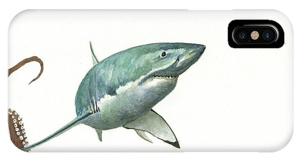 Sharks iPhone Case - The Great White Shark And The Octopus by Juan Bosco