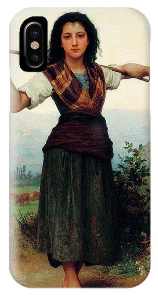 Amaryllis iPhone Case - The Little Shepherdess by Adolphe William Bouguereau