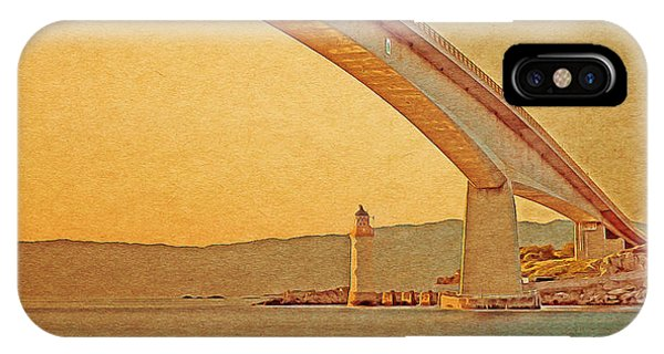 IPhone Case featuring the digital art The Skye Bridge And Kyleakin Lighthouse by Anthony Murphy