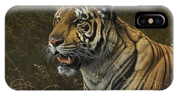 IPhone Case featuring the painting Tiger Portrait by Alan M Hunt