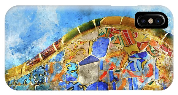 Tile Background In Parc Guell In Barcelona Spain IPhone Case