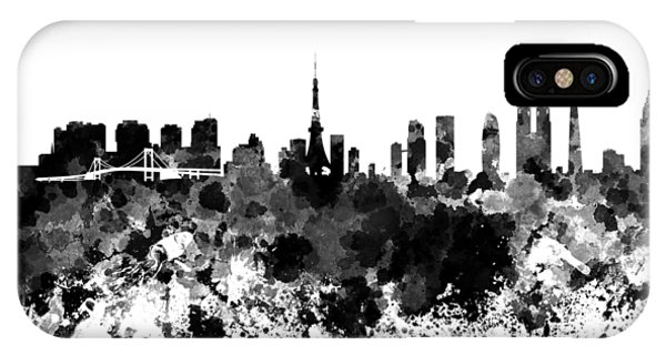 Tokyo Skyline In Watercolor On White Background IPhone Case