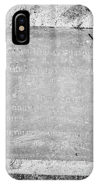 tombstone for samuel shed william goddard and joseph shed member of the boston tea party Granary Bur IPhone Case