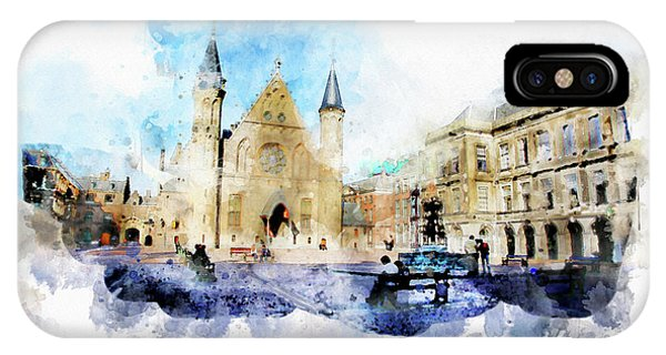 Town Life In Watercolor Style IPhone Case