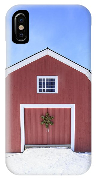 New England Barn iPhone Case - Traditional New England Red Barn In Winter by Edward Fielding