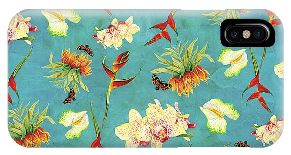 Moth iPhone Case - Tropical Island Floral Half Drop Pattern by Audrey Jeanne Roberts
