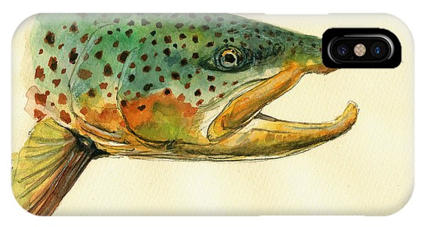 Fishing iPhone Case - Trout Watercolor Painting by Juan  Bosco