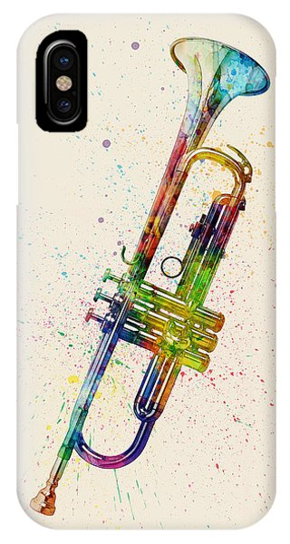 Musical iPhone Case - Trumpet Abstract Watercolor by Michael Tompsett