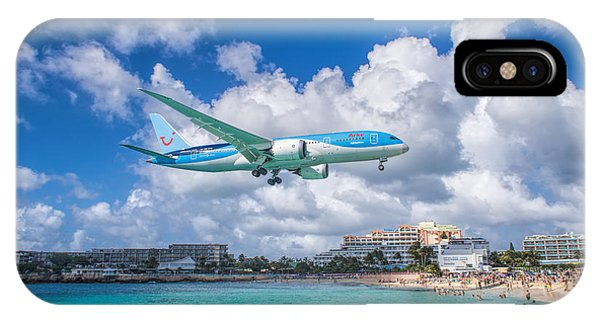 Tui Airlines Netherlands Landing At St. Maarten Airport. IPhone Case