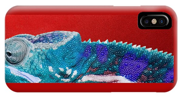 Pop Art iPhone Case - Turquoise Chameleon On Red by Serge Averbukh
