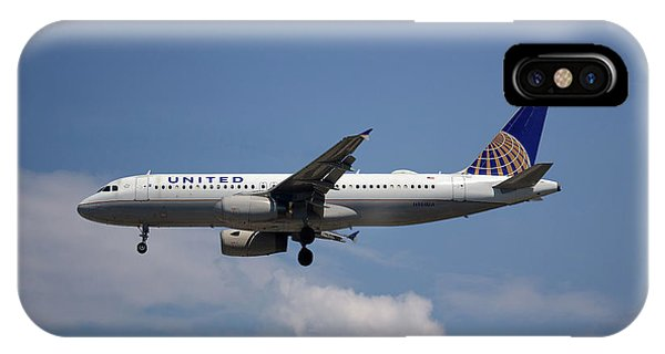 Airline iPhone Case - United Airlines Airbus A320-232 by Smart Aviation