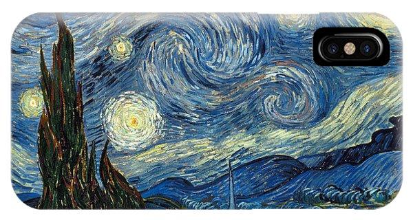 Geometric iPhone X Case - Van Gogh Starry Night by Granger