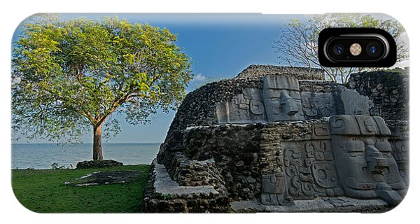 Maya iPhone Case - View Of Cerros Maya Ruins At Cerros by Panoramic Images
