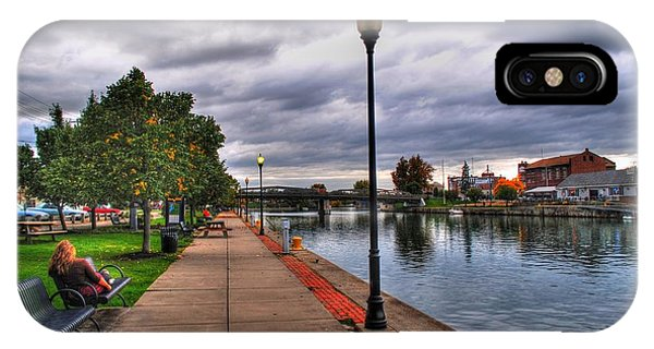 View Of Delaware Bridge At Erie Canal Harbor IPhone Case