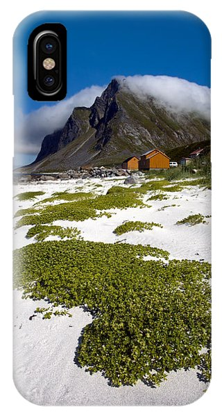 Vikten Beach With Green Grass, Mountains And Clouds IPhone Case