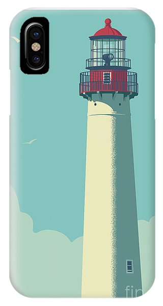 New Jersey iPhone Case - Cape May Poster - Vintage Travel Lighthouse  by Jim Zahniser