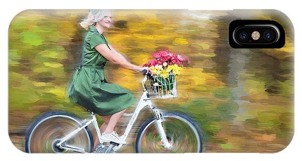 IPhone Case featuring the digital art Vintage Val Bike Ride by Jill Wellington