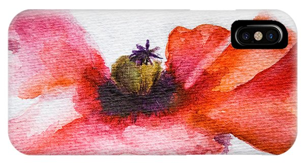 Watercolor Poppy Flower IPhone Case