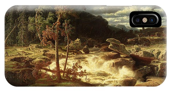 Swedish Painters iPhone Case - Waterfall In Smaland  by Marcus Larson