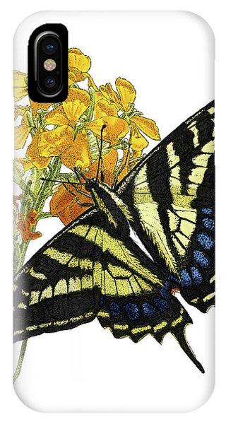 Western Tiger Swallowtail On A Western Wallflower IPhone Case