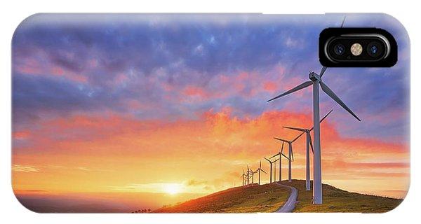 wind turbines in Oiz eolic park IPhone Case