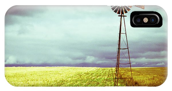 Storm iPhone Case - Windmill Against Autumn Sky by Gordon Wood