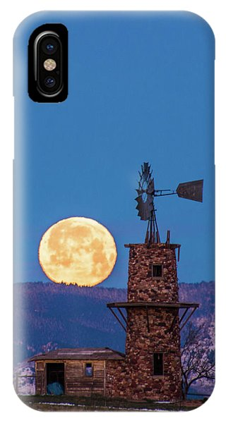 Windmill At Moonset IPhone Case