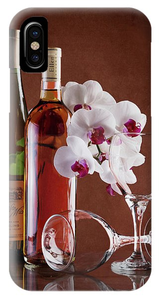 Vino iPhone Case - Wine And Orchids Still Life by Tom Mc Nemar