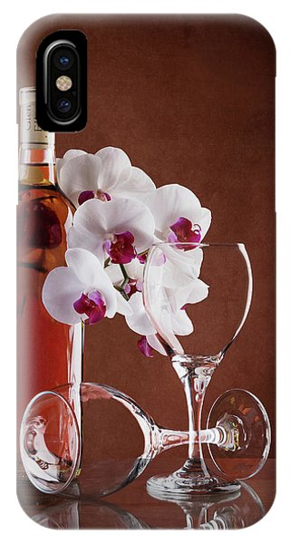 Orchid iPhone X Case - Wine And Orchids Still Life by Tom Mc Nemar