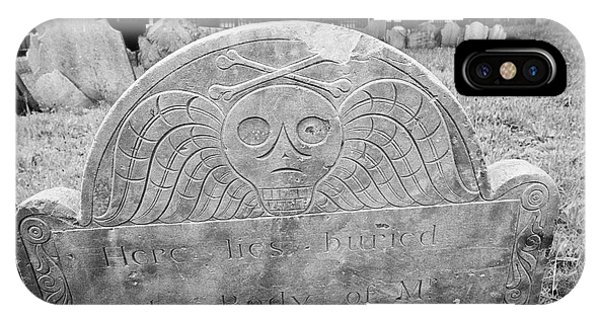 winged skull and crossbones on gravestones in copps hill burying ground Boston USA IPhone Case