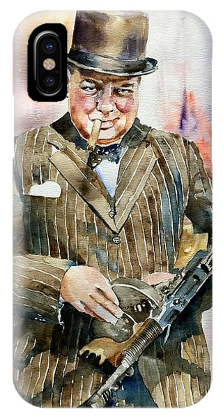 Blues Legends iPhone Case - Winston Churchill Portrait by Suzann's Art