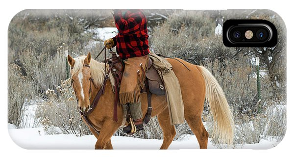 Horseman iPhone Case - Winter Cowboy by Mike Dawson
