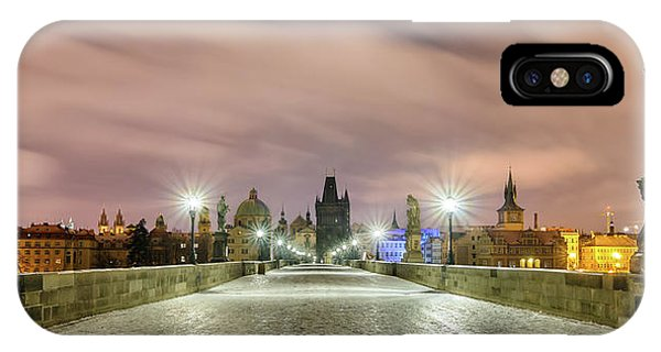 Winter Night At Charles Bridge, Prague, Czech Republic IPhone Case