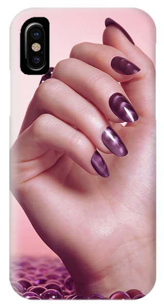 Drown iPhone Case - Woman Hand With Purple Nail Polish by Maxim Images Prints