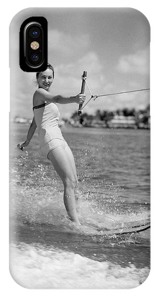 Water Ski iPhone Case - Woman Water Skiing by H. Armstrong Roberts/ClassicStock