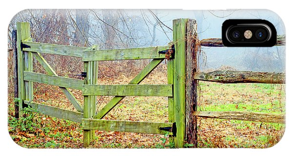 Wooden Fence On A Foggy Morning IPhone Case