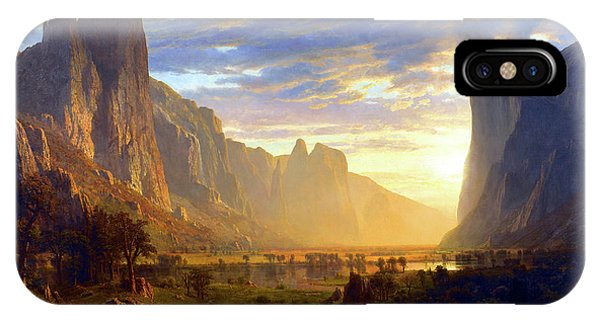 Mountainous iPhone Case - Yosemite Valley by Albert Bierstadt