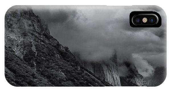 Yosemite Valley Panorama In Black And White IPhone Case