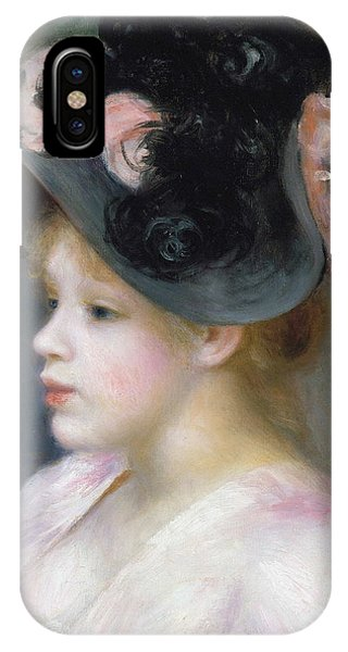 Girls In Pink iPhone Case - Young Girl In A Pink-and-black Hat by Auguste Renoir