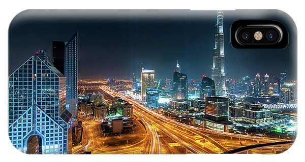Amazing Night Dubai Downtown Skyline, Dubai, United Arab Emirates IPhone Case