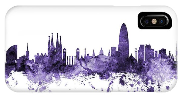 Violet iPhone Case - Barcelona Spain Skyline by Michael Tompsett