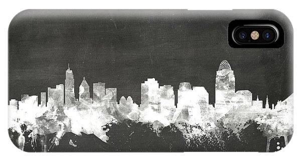 Board iPhone Case - Cincinnati Ohio Skyline by Michael Tompsett