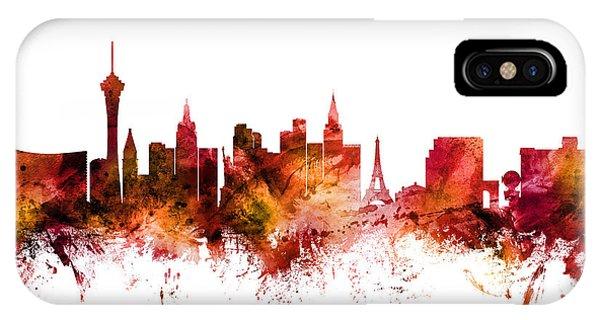 Las Vegas iPhone X Case - Las Vegas Nevada Skyline by Michael Tompsett