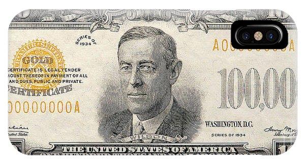 100 iPhone Case - $100,000 Bill Circa 1934 by Jon Neidert