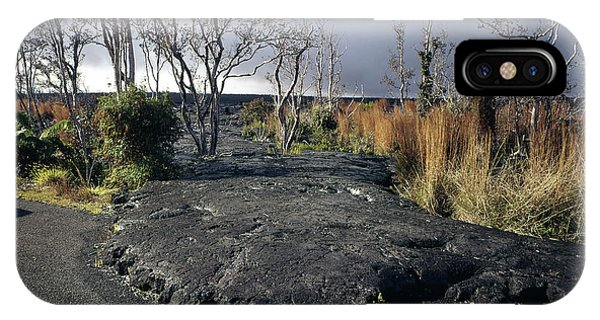 IPhone Case featuring the photograph 100925 Lava Flow On Road Hi by Ed Cooper Photography
