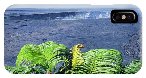 IPhone Case featuring the photograph 100960 Ferns And Halemaumau Crater Kilauea Caldera Hi by Ed Cooper Photography